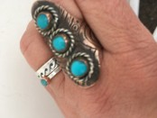 Copper Etched Turquoise Saddle Ring