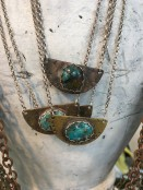Turquoise on Half Moon Necklace