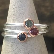 Gemstone Sterling Silver Stacker Ring