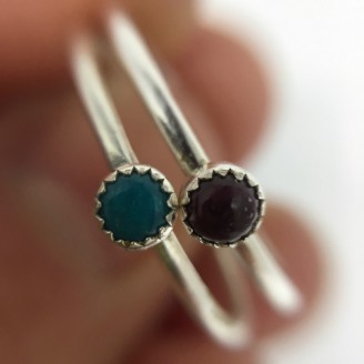 Natural Turquoise & Spiny Oyster Shell Stacker Ring